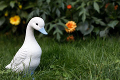 Little white duckling figurine Stock Photos