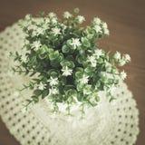 Little white flower in vase on wooden table Stock Photos