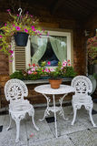 Little white garden chairs royalty free stock images