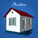 Little white house with a red roof and blue base. Royalty Free Stock Photo