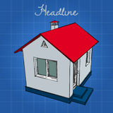 Little white house with a red roof and blue base. Stock Images