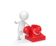 Little white man stand leaning on the phone. 3d little white man stand leaning on the phone on white background Royalty Free Stock Photos
