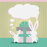 Little white rabbits Birthday gift Stock Photos