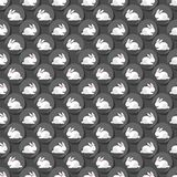 Little white rabbits on gray dots seamless pattern Stock Image