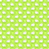 Little white rabbits on green dots seamless pattern Stock Image