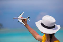 Little white toy airplane on background of Stock Photos
