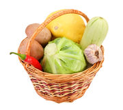 Little wicker with vegetables Stock Photo