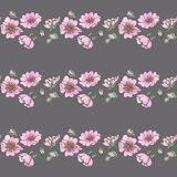 Little wild dog rose seamless background flowers with buds pattern boho style Royalty Free Stock Photos