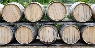 Little wine barrels made from oak Royalty Free Stock Photos