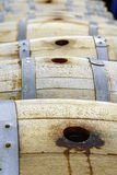 Little wine barrels made from oak Royalty Free Stock Photo