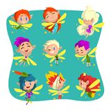 Little winged elves set, cute fairytale elf character with colored hair and various emotions vector Illustrations on a Royalty Free Stock Images