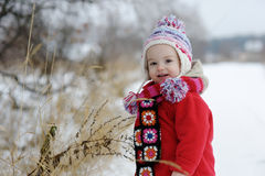 Little winter baby girl stock image