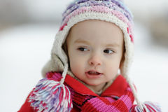 Little winter baby girl royalty free stock image