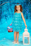 Little winter fairy tale girl Stock Photos