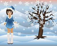 Little winter girl and seasons tree Royalty Free Stock Photography