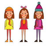 Little winter kids schoolgirls isolated on white vector cartoon Stock Images