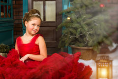 Little winter Princess welcomes New year and Christmas Stock Image