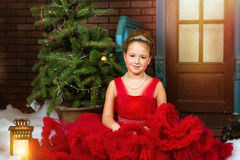 Little winter Princess welcomes New year and Christmas Stock Photo