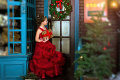 Little winter Princess welcomes New year and Christmas stock images