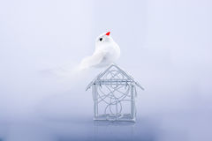Little wired metal model house and a bird Stock Photo