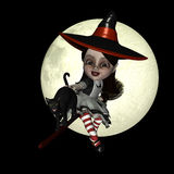 Little Witch. Happy Halloween doll flying on her broom in front of a brightly lite full moon with a black cat vector illustration