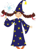 Little witch. In carnival costume with a with magic wand Royalty Free Stock Images