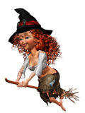 Little witch. A cute little with - isolated on with Royalty Free Stock Photos