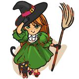 Little witch. Little girl dressed as a witch, drawn in anime style Royalty Free Stock Image