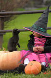 Little witch. With a black kitten Stock Photo