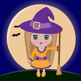 Little witch. Little cute witch on a background of the moon Royalty Free Stock Photo