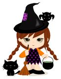 Little witch. Halloween theme... cute lIttle witch with her friends. Vector illustration Stock Photo