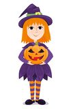 Little witch. Little girl in a costume of the witch. Cartoon illustration Stock Image