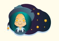 Little witch on the background of the night sky stock illustration