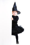 Little witch with banner Stock Image