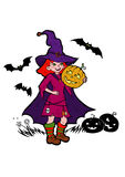Little witch with bats and pumpkins Stock Photo