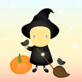 Little witch and birds Royalty Free Stock Photo