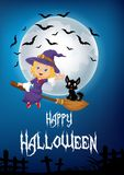 Little witch and a black cat flying on broomstick with full moon background Stock Photography