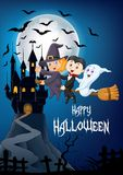 Little witch and a black cat flying on broomstick with full moon and castle background Stock Image