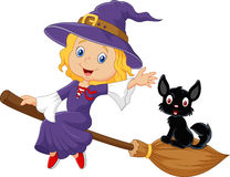 Little witch and a black cat in the flying broomstick Royalty Free Stock Image