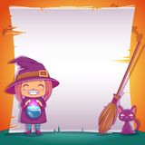Little witch with black kitten and broom. Happy Halloween party. Editable template with text space. Poster with little witch with black kitten and broom for vector illustration