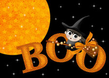 Little Witch Boo Halloween Background. Designed with a unique orange starred moon over a black background. Then added stars. Then added the word Boo. Over the Royalty Free Stock Images