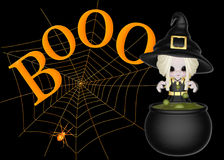 Little Witch, Boo & Spider Web Background. Started with a black background and added a large spider web. Then added the bright orange spider. Topped that Stock Image