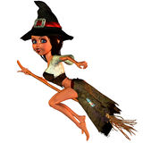 Little witch on the broom. 3d rendering of a little witch flying on broom as illustration in comic style Royalty Free Stock Photography