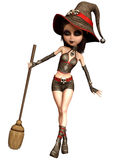 Little witch with a broom Stock Images