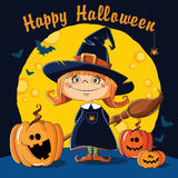 Little Witch with broom. On a background of the moon Royalty Free Stock Images