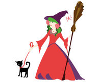 Little witch with broom and black cat for Halloween Royalty Free Stock Image
