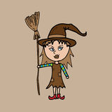 Little witch with broom Stock Image