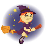 Little witch on a broom Stock Photo