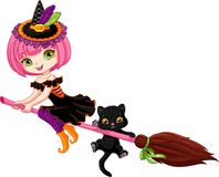 Little witch on broom. Little witch flies on broom Royalty Free Stock Photos