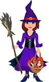 Little witch. With broom and fly agaric Royalty Free Stock Photos